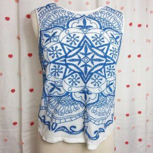 Lucky Brand Top Embroidered Tank Blue & White